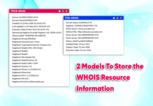 2 models to store the whois resource information