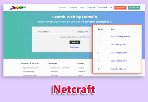 netcraft subdomain scanner tool